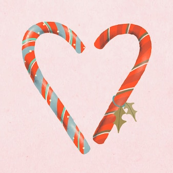 Adesivo de natal, vetor de bastões de doces, ilustração desenhada à mão