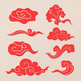 Adesivo de nuvem oriental, coleção de vetores de clipart de design japonês vermelho