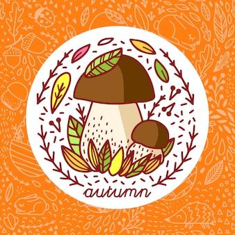 Adesivo de outono com cogumelo da floresta
