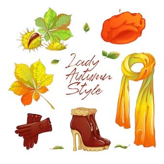 Adesivo de outono definido para senhora elegante.