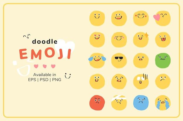 Adesivo de pacote de emoticons vetoriais de doodle fofo