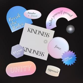 Adesivo de palavra estética, conjunto de vetores de clipart gradiente em pastel holográfico