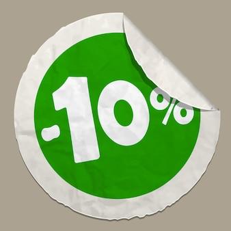 Adesivo de papel realista com ícone de 10% de desconto e borda curva