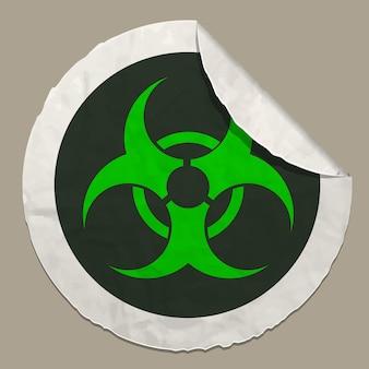 Adesivo de papel realista de ícone de símbolo de risco biológico com borda curva