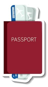 Adesivo de passaporte com ingressos de desenho animado