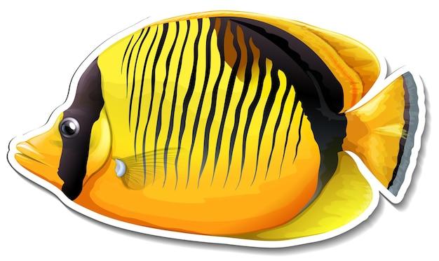 Adesivo de peixe-borboleta de dorso negro e animal marinho