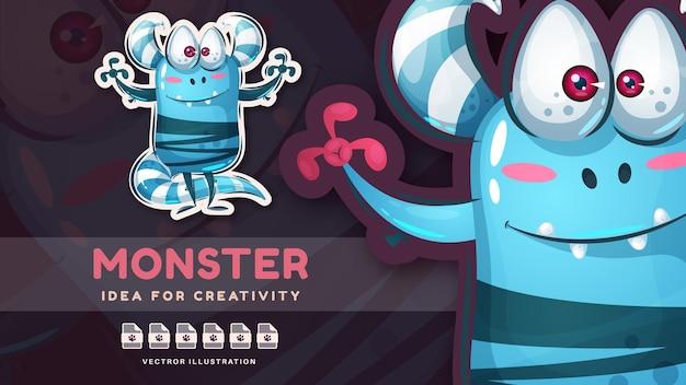 Adesivo de personagem de desenho animado adorável munster vetor eps 10