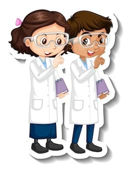 Adesivo de personagem de desenho animado com casal de cientistas em vestido de ciências