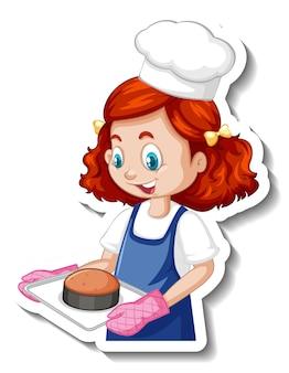 Adesivo de personagem de desenho animado com chef garota segurando uma bandeja de assados
