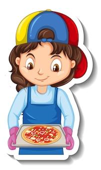 Adesivo de personagem de desenho animado com chef garota segurando uma bandeja de pizza