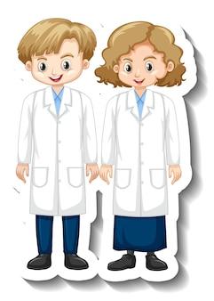 Adesivo de personagem de desenho animado com crianças em vestido de ciências