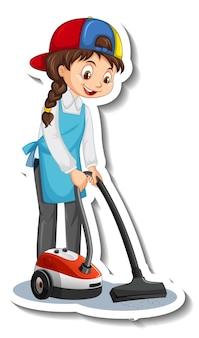Adesivo de personagem de desenho animado com empregada doméstica usando aspirador de pó