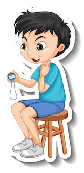 Adesivo de personagem de desenho animado com menino treinador esportivo segurando um cronômetro