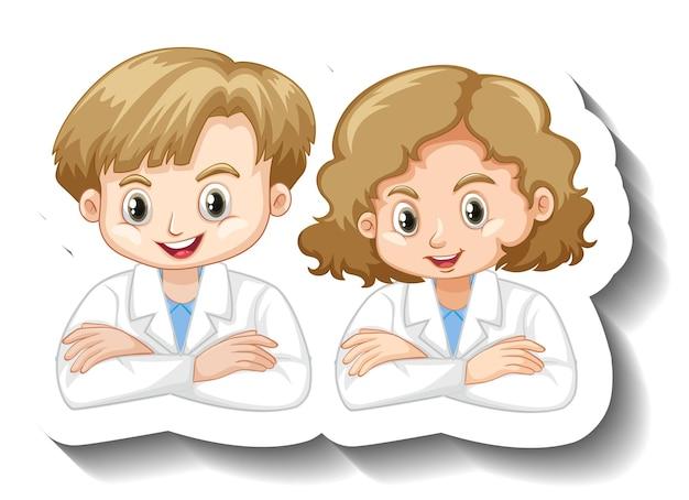 Adesivo de personagem de desenho animado com um casal de crianças em vestido de ciências