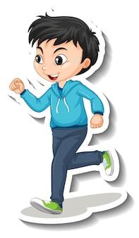 Adesivo de personagem de desenho animado com um garoto correndo no fundo branco