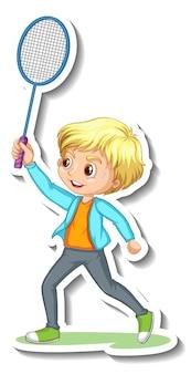 Adesivo de personagem de desenho animado com um garoto jogando badminton