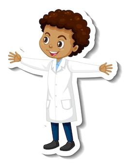 Adesivo de personagem de desenho animado com um garoto usando um vestido de ciências