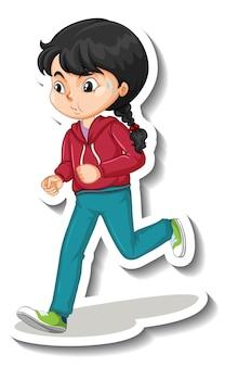 Adesivo de personagem de desenho animado com uma garota correndo no fundo branco
