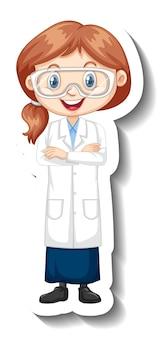 Adesivo de personagem de desenho animado com uma garota em um vestido de ciências