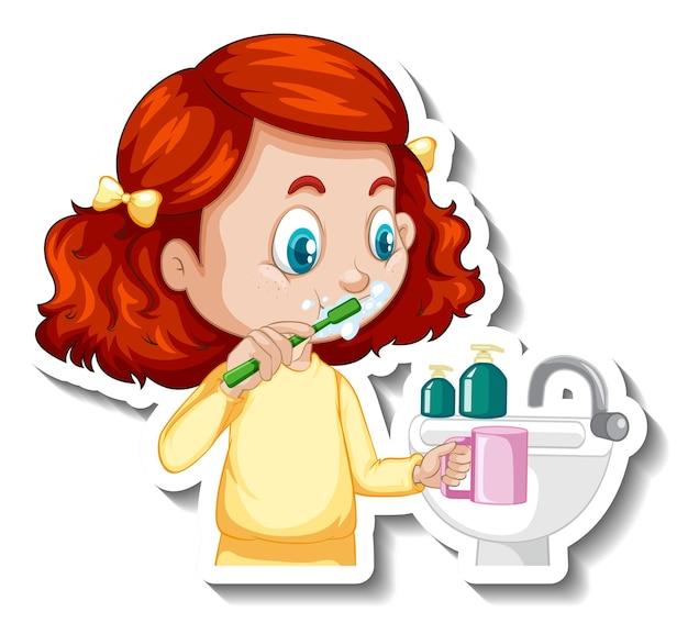 Adesivo de personagem de desenho animado com uma garota escovando os dentes
