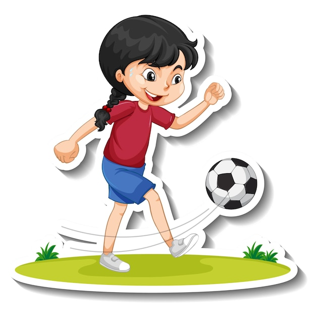 Adesivo de personagem de desenho animado com uma garota jogando futebol