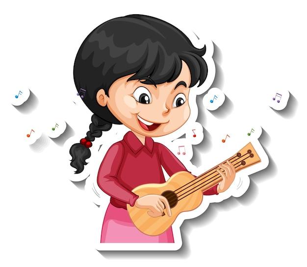 Adesivo de personagem de desenho animado com uma garota tocando ukulele