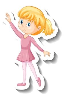 Adesivo de personagem de desenho animado de balé fofa