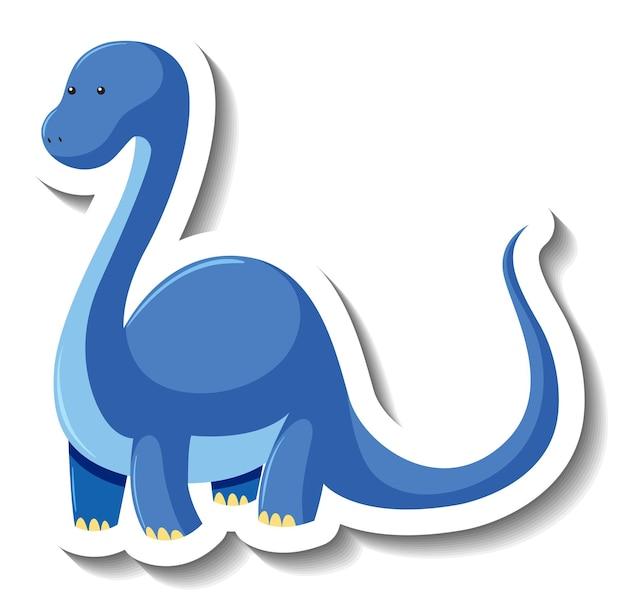 Adesivo de personagem de desenho animado de dinossauro azul fofo
