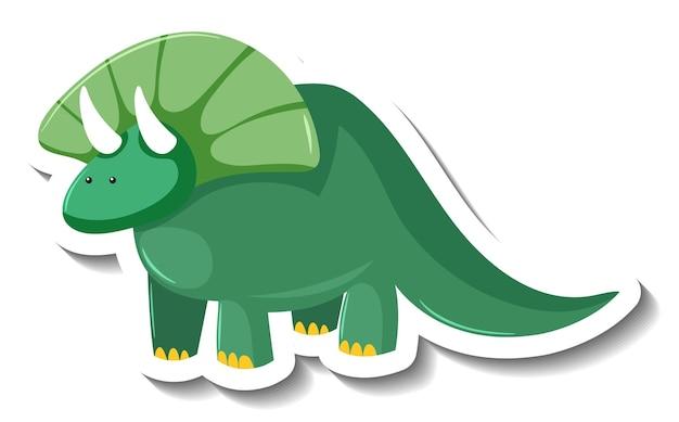 Adesivo de personagem de desenho animado de dinossauro verde fofo