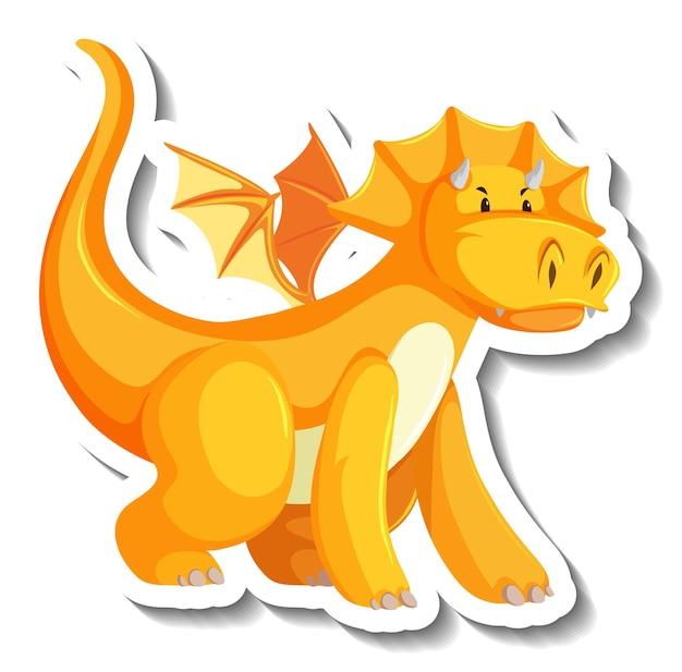 Adesivo de personagem de desenho animado de dragão amarelo fofo