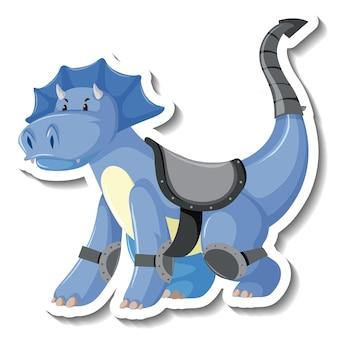 Adesivo de personagem de desenho animado de dragão azul fofo