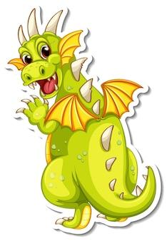 Adesivo de personagem de desenho animado de dragão fofo