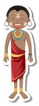 Adesivo de personagem de desenho animado de homem tribal africano