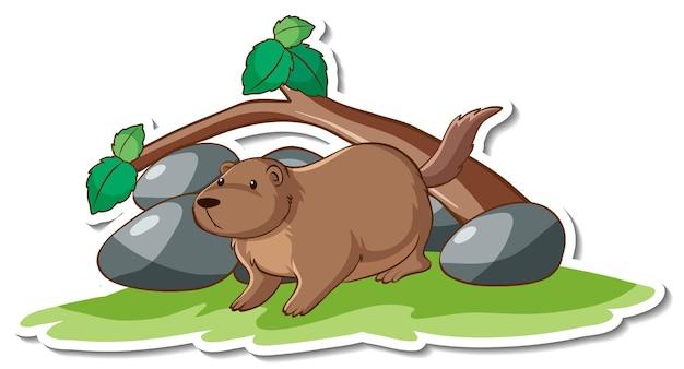 Adesivo de personagem de desenho animado de lontra fofa