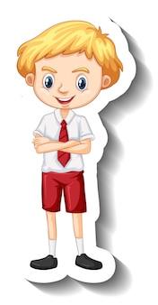 Adesivo de personagem de desenho animado de menino com uniforme de estudante