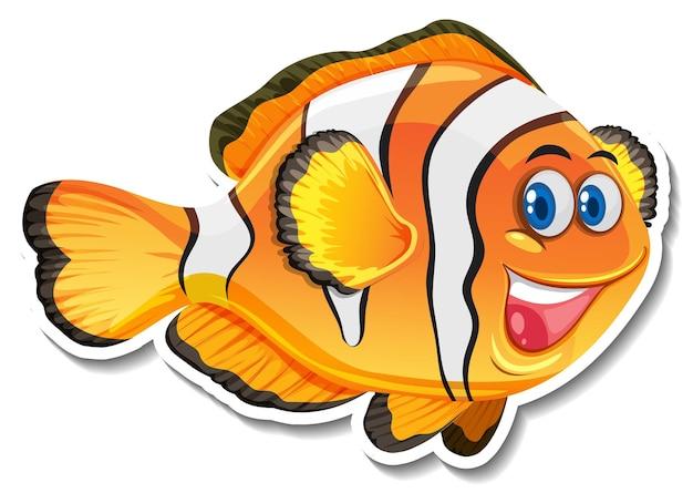 Adesivo de personagem de desenho animado de peixe-palhaço fofo