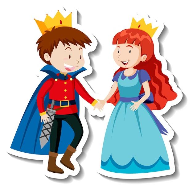 Adesivo de personagem de desenho animado de príncipe e princesa