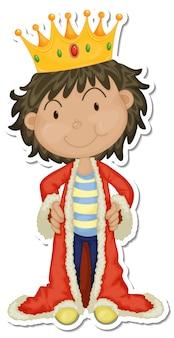 Adesivo de personagem de desenho animado de rei com túnica vermelha