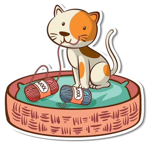 Adesivo de personagem de desenho animado de um gato na cama de cesto