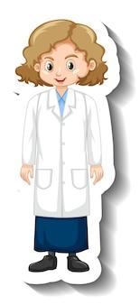 Adesivo de personagem de desenho animado de uma garota com vestido de ciências