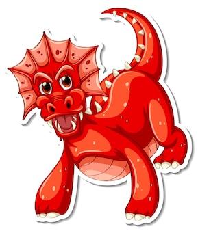 Adesivo de personagem de desenho animado do dragão vermelho