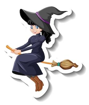 Adesivo de personagem de desenho animado linda bruxa andando de vassoura