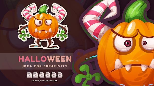 Adesivo de personagem de desenho animado louco com abóbora de halloween
