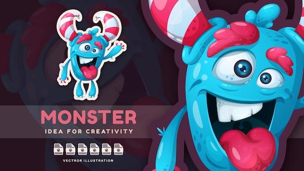 Adesivo de personagem de desenho animado louco monstro fofo vetor eps 10