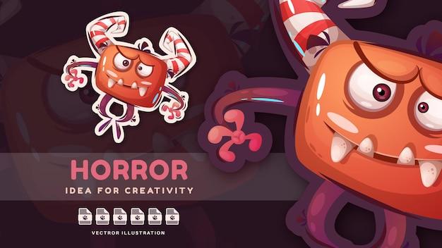 Adesivo de personagem de desenho animado monstro fofinho