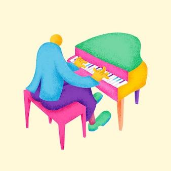 Adesivo de pianista com ilustração colorida de músico