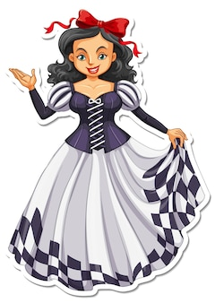 Adesivo de princesa linda personagem de desenho animado