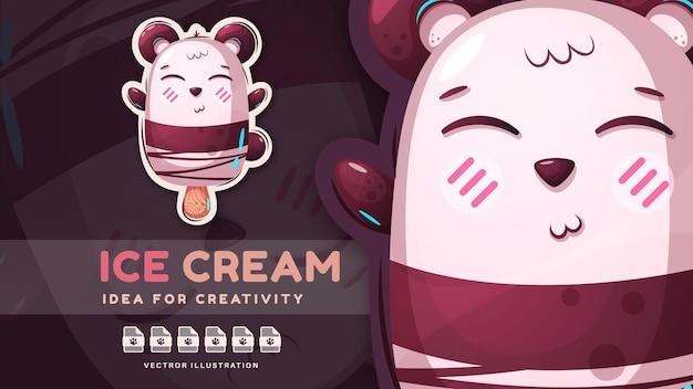 Adesivo de quadrinhos de urso de sorvete de personagem de desenho animado vetor eps 10
