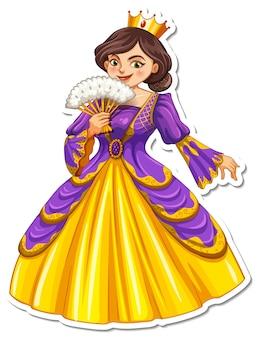 Adesivo de rainha linda personagem de desenho animado