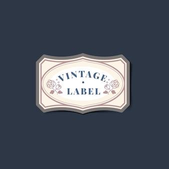 Adesivo de rótulo vintage decorado com vetor de rosas
